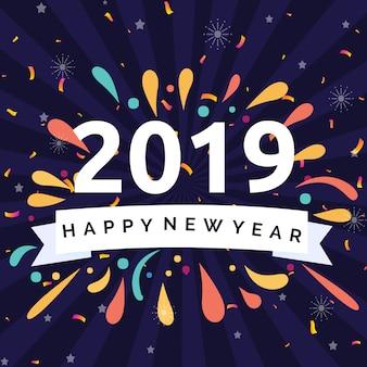 Gelukkig nieuwjaar 2019 illustratie concept