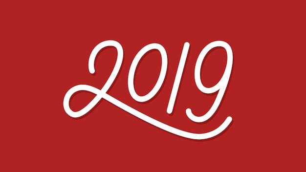 Gelukkig nieuwjaar 2019 lijntekst tekstontwerp
