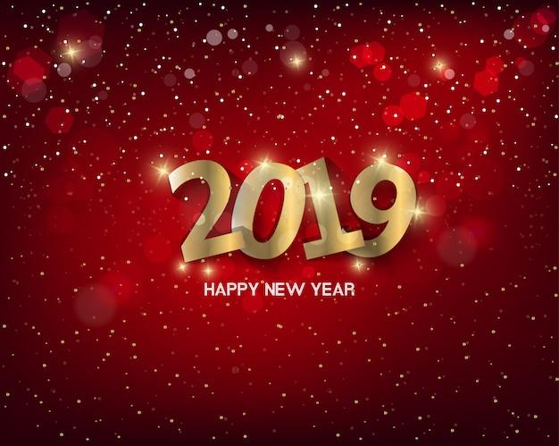 Gelukkig nieuwjaar 2019 met vuurwerkachtergrond. chienese nieuwjaar, jaar van het varken.