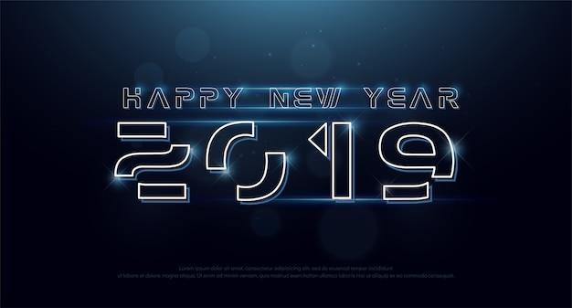 Gelukkig nieuwjaar 2019 technologie neon lijn lettertype digitaal