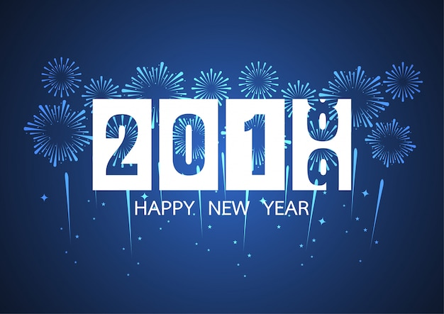 Gelukkig nieuwjaar 2019. vuurwerk op donkere achtergrond