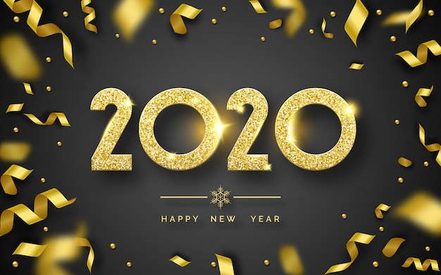 Gelukkig nieuwjaar 2020-achtergrond met glanzende cijfers en linten