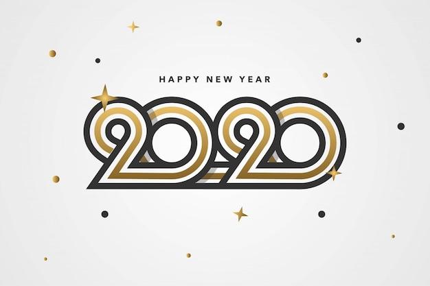 Gelukkig nieuwjaar 2020-achtergrond met uniek aangepast nummer