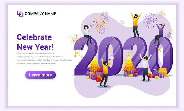 Gelukkig nieuwjaar 2020 bestemmingspagina