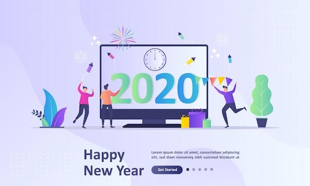 Gelukkig nieuwjaar 2020-concept