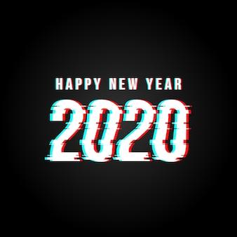 Gelukkig nieuwjaar 2020 glitch gehackte tekstachtergrond