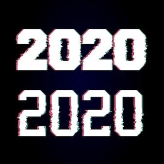 Gelukkig nieuwjaar 2020 glitch tekst