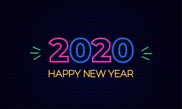 Gelukkig nieuwjaar 2020 gloeiend neonlichteffect op donkerblauwe baksteenachtergrond
