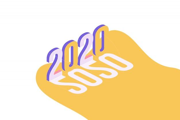 Gelukkig nieuwjaar 2020. groet inscriptie in isometrische stijl.