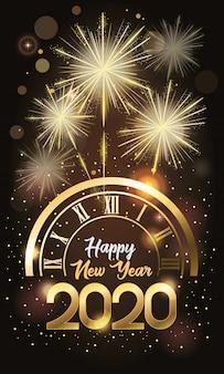 Gelukkig nieuwjaar 2020-kaart met nummer en horloge