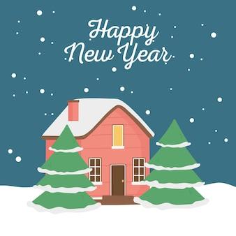 Gelukkig nieuwjaar 2020 kaart met schattige huis bomen sneeuw decoratie