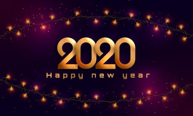 Gelukkig nieuwjaar 2020. kerstverlichting, bollen, garland.