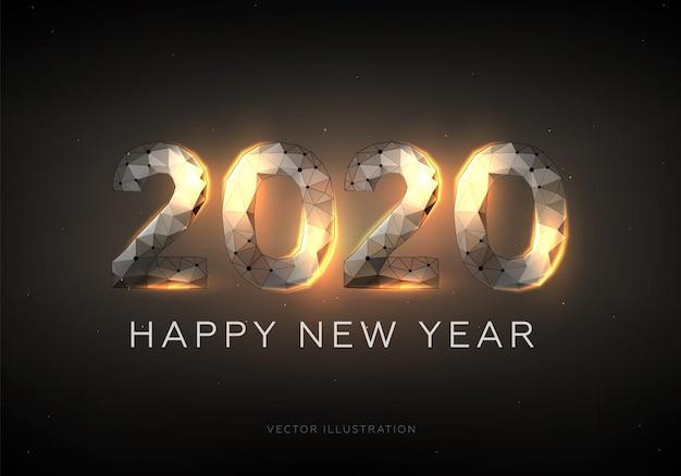 Gelukkig nieuwjaar 2020, low-poly draadframe-stijl