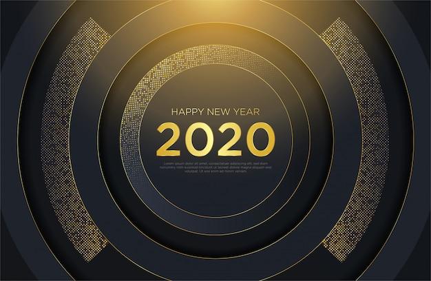 Gelukkig nieuwjaar 2020 luxe achtergrond met glitter goud