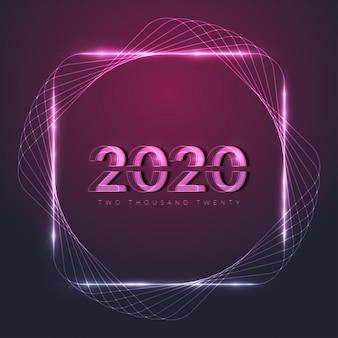 Gelukkig nieuwjaar 2020 met gloeiend neonframe