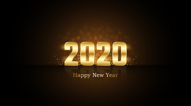 Gelukkig nieuwjaar 2020 met gouden cijfers met burst-glitter en reflectie op zwart