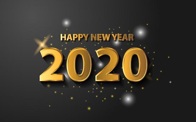 Gelukkig nieuwjaar 2020 met gouden kleur