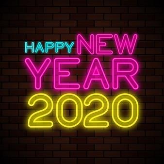 Gelukkig nieuwjaar 2020 neonreclame illustratie