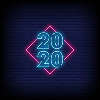 Gelukkig nieuwjaar 2020 neonreclame stijl tekst