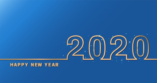 Gelukkig nieuwjaar 2020 op blauwe achtergrond