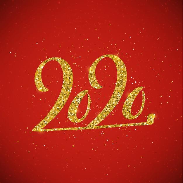 Gelukkig nieuwjaar 2020-poster met belettering samenstelling.