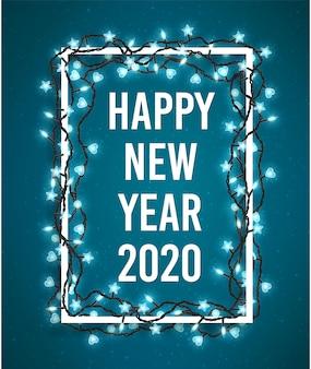 Gelukkig nieuwjaar 2020 poster met fonkelende lichten van kerstmis.