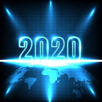 Gelukkig nieuwjaar 2020. technologiesamenvatting met gloeiend neonlicht op aarde