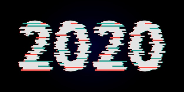 Gelukkig nieuwjaar 2020 tekst glitch