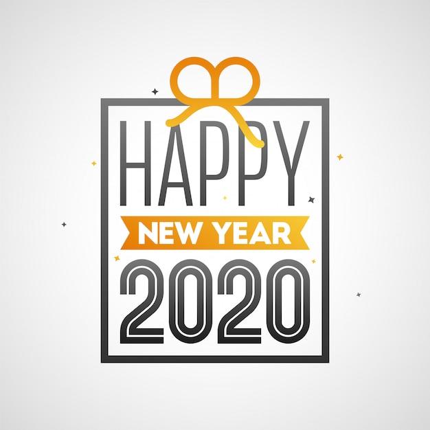 Gelukkig nieuwjaar 2020-tekst in geschenkdoos vorm op witte achtergrond.