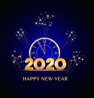 Gelukkig nieuwjaar 2020-tekst met gouden nummers en vintage klok op blauw met vuurwerk