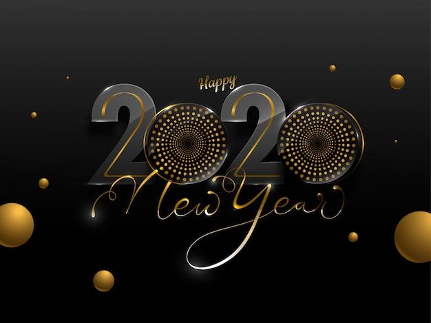 Gelukkig nieuwjaar 2020-tekst met woofer's en gouden cirkels versierd op zwarte achtergrond.