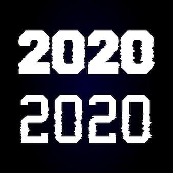 Gelukkig nieuwjaar 2020 tekstontwerp glitch