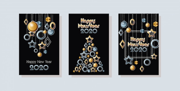 Gelukkig nieuwjaar 2020 viering set kaarten