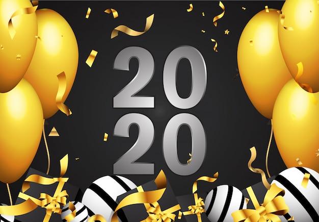 Gelukkig nieuwjaar 2020 zilveren tekentekst met gouden confeti, ballon, geschenkdoos.