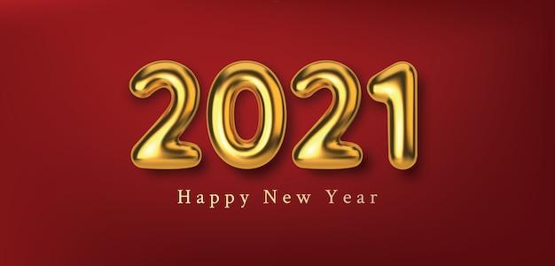 Gelukkig nieuwjaar 2021. 3d-realistische illustratie gouden metalen nummers inscriptie.