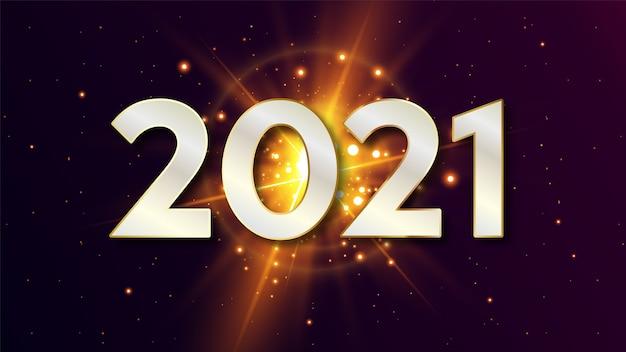 Gelukkig nieuwjaar 2021 achtergrond met gloeiende ster
