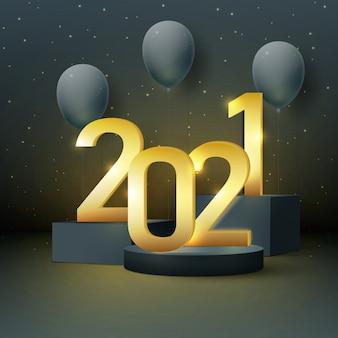 Gelukkig nieuwjaar 2021 achtergrond met gouden cijfers met ballonnen en een podium