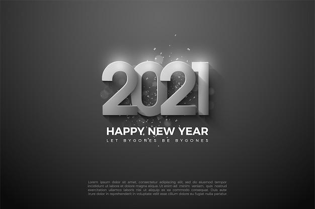Gelukkig nieuwjaar 2021 achtergrond met zilveren numerieke illustraties