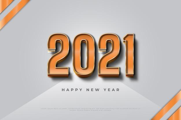 Gelukkig nieuwjaar 2021 banner met 3d nummers op witte achtergrond