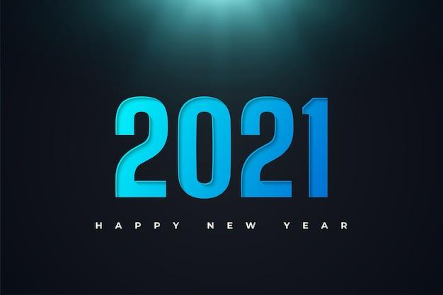 Gelukkig nieuwjaar 2021-banner met blauwe cijfers in papierstijl op donkere achtergrond