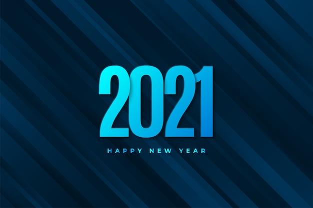 Gelukkig nieuwjaar 2021 banner met blauwe cijfers op donkerblauwe geometrische achtergrond