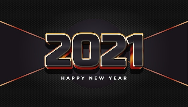 Gelukkig nieuwjaar 2021 banner met elegante 3d nummers op abstracte achtergrond
