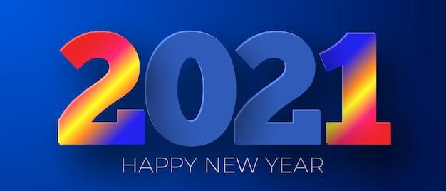 Gelukkig nieuwjaar 2021 blauwe achtergrond. wenskaart ontwerp.