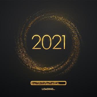 Gelukkig nieuwjaar 2021. gouden metallic luxe nummers 2021 met laadbalk op glinsterend.