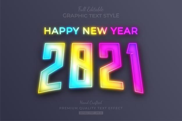 Gelukkig nieuwjaar 2021 gradient neon bewerkbare teksteffect lettertypestijl