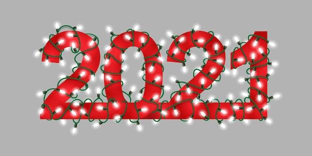 Gelukkig nieuwjaar 2021. hand getrokken gloeiende feestelijke slinger tekstnummers.