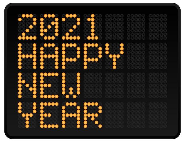 Gelukkig nieuwjaar 2021 illustratie. led digitale alfabetstijltekst met gloeiende stippen. abstract begrip grafisch element