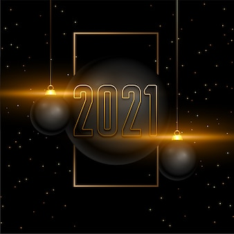 Gelukkig nieuwjaar 2021 kaart met kerstballen