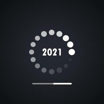 Gelukkig nieuwjaar 2021 laden ontwerp vector. gelukkig nieuw 2021-jaar met het laden van achtergrondvector. laadbalk voor nieuwjaarsconcept en wenskaart in digitale stijl.