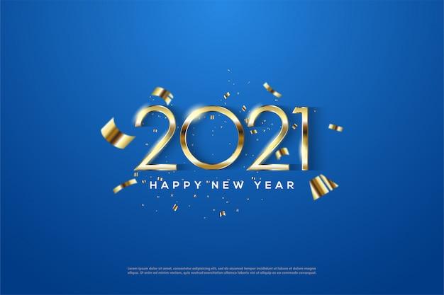 Gelukkig nieuwjaar 2021 met elegante dunne gouden cijfers